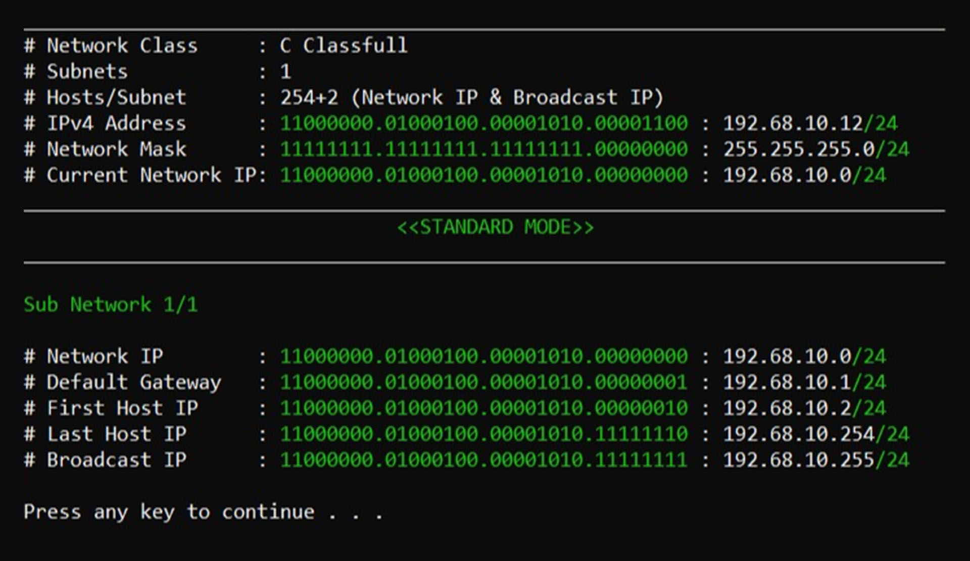 IPv4 Subnet Calculator Console Version